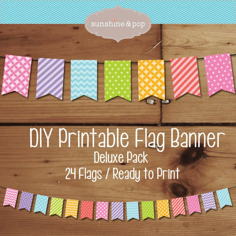 Printable Flag Bunting Banner Diy Party Rainbow Party Decorations Diy Birthday Banner