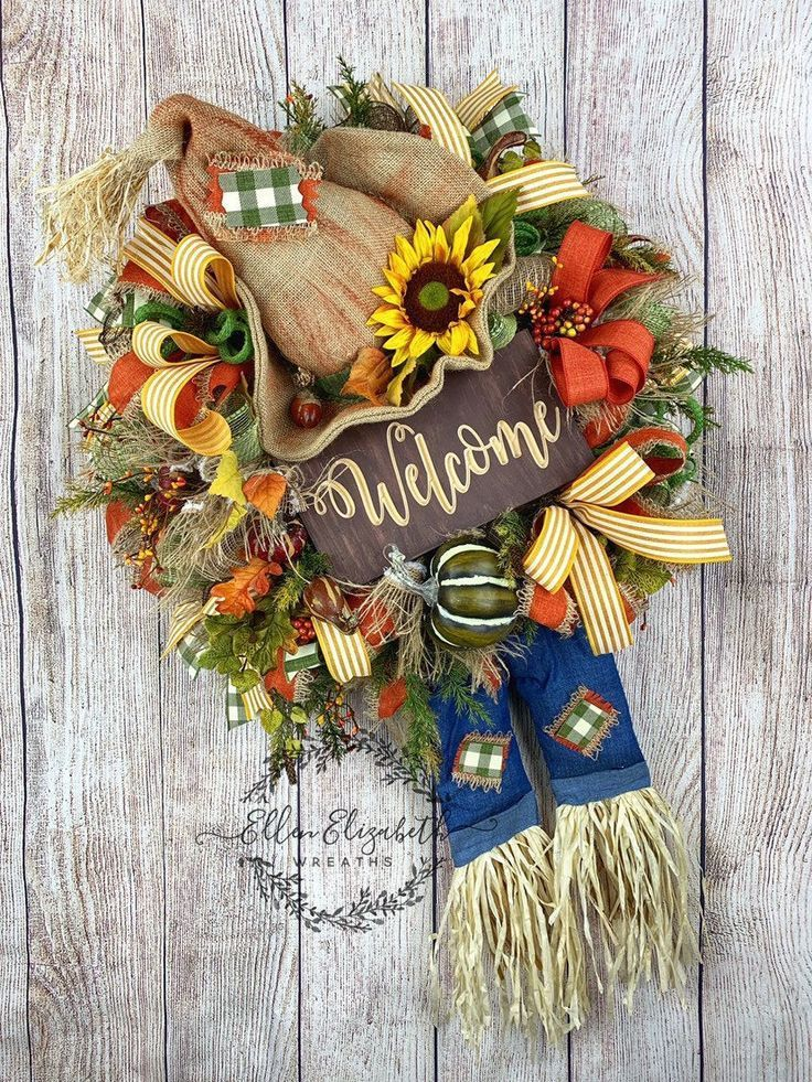 Fall Wreath, Scarecrow Wreath, Fall Decor, Welcome Sign, Fall Wreath Sunflower, Fall Wreaths for Front Door, Fall Wreaths with Pumpkins #scarecrowwreath Excited to share this item from my #etsy shop: Fall Wreath, Scarecrow Wreath, Fall Decor, Welcome Sign, Fall Wreath Sunflower, Fall Wreaths for Front Door, Fall Wreaths with Pumpkins #scarecrowwreath