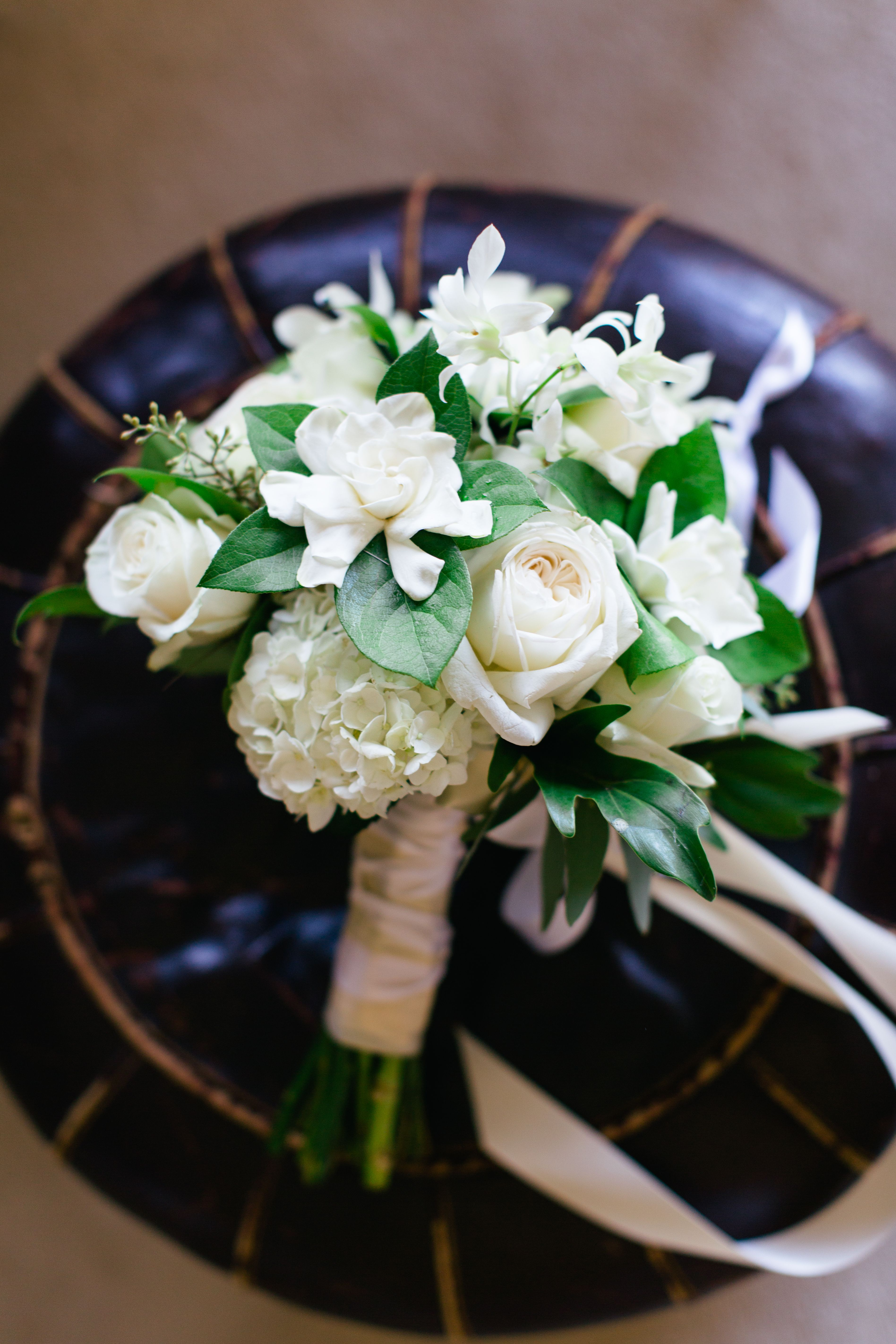 Bouquet Inspiration Ivory Gardenia Roses And Hydrangea Bouquet