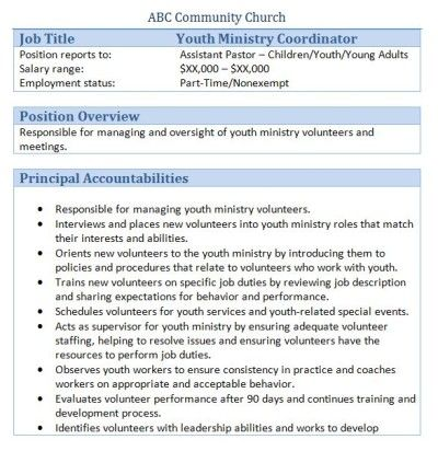 Sample Church Employee Job Descriptions Job description, Youth - employee performance review example