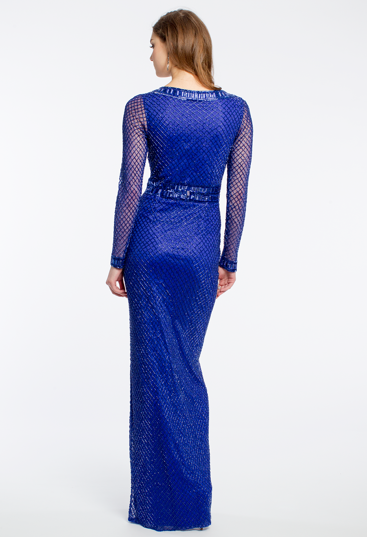 Illusion sleeve fully beaded prom dress camillelavie clvprom