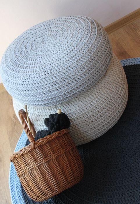 Pufy ze sznurka bawełnianego