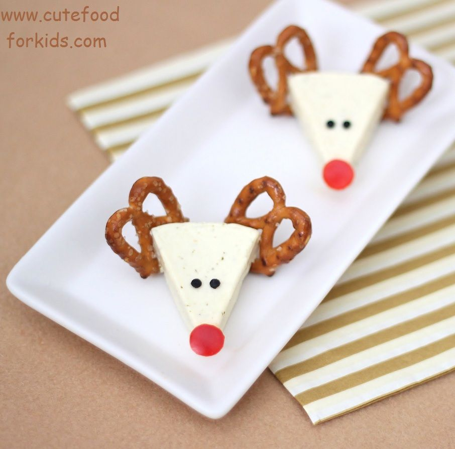 Toddler Christmas Party Ideas Part - 33: Christmas Appetizer Idea: Cheese Reindeers From Cute Food For Kids.  Reindeer Made Of Laughing Cow Cheese Wedge, Pretzels, Olive U0026 Red Pepper  For Rudolphu0027s ...