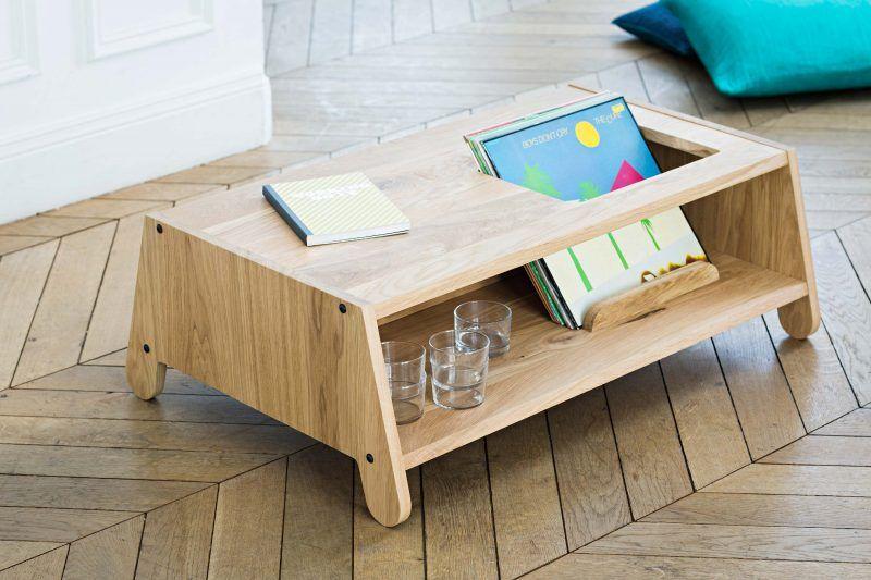 Table Basse Avec Zone De Rangement Pour Vinyles Table Basse Deco Table Basse Table Basse Bois