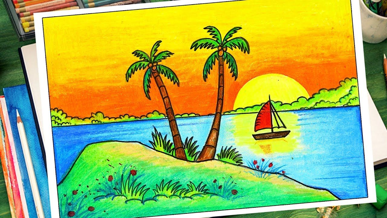 How To Draw Easy Scenery Sunset Scenery Drawing Easy Easy Drawings Drawings Sunset Drawing Easy