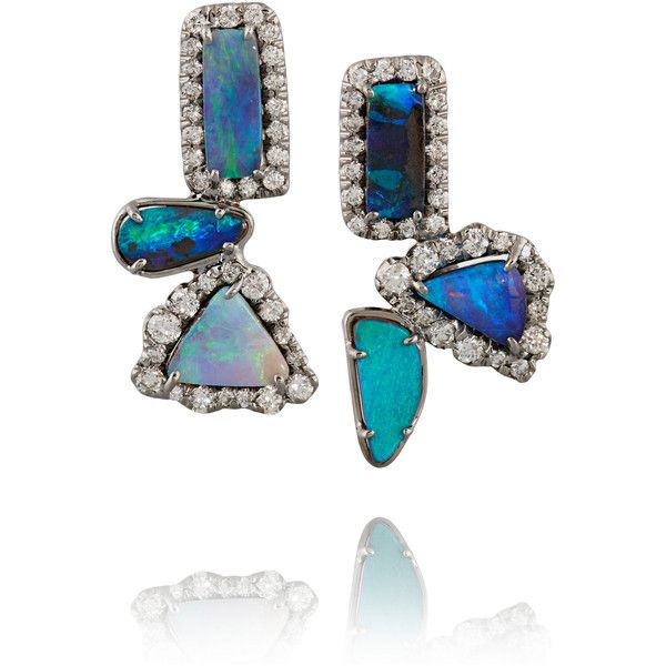 Kimberly McDonald 18-karat Blackened White Gold, Opal And Diamond Earrings