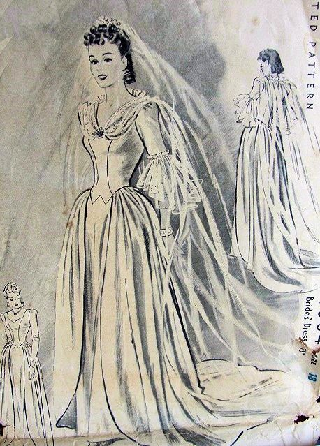 1940 BEAUTIFUL WEDDING GOWN BRIDAL DRESS PATTERN VERY GINGER ROGERS McCALL 4004
