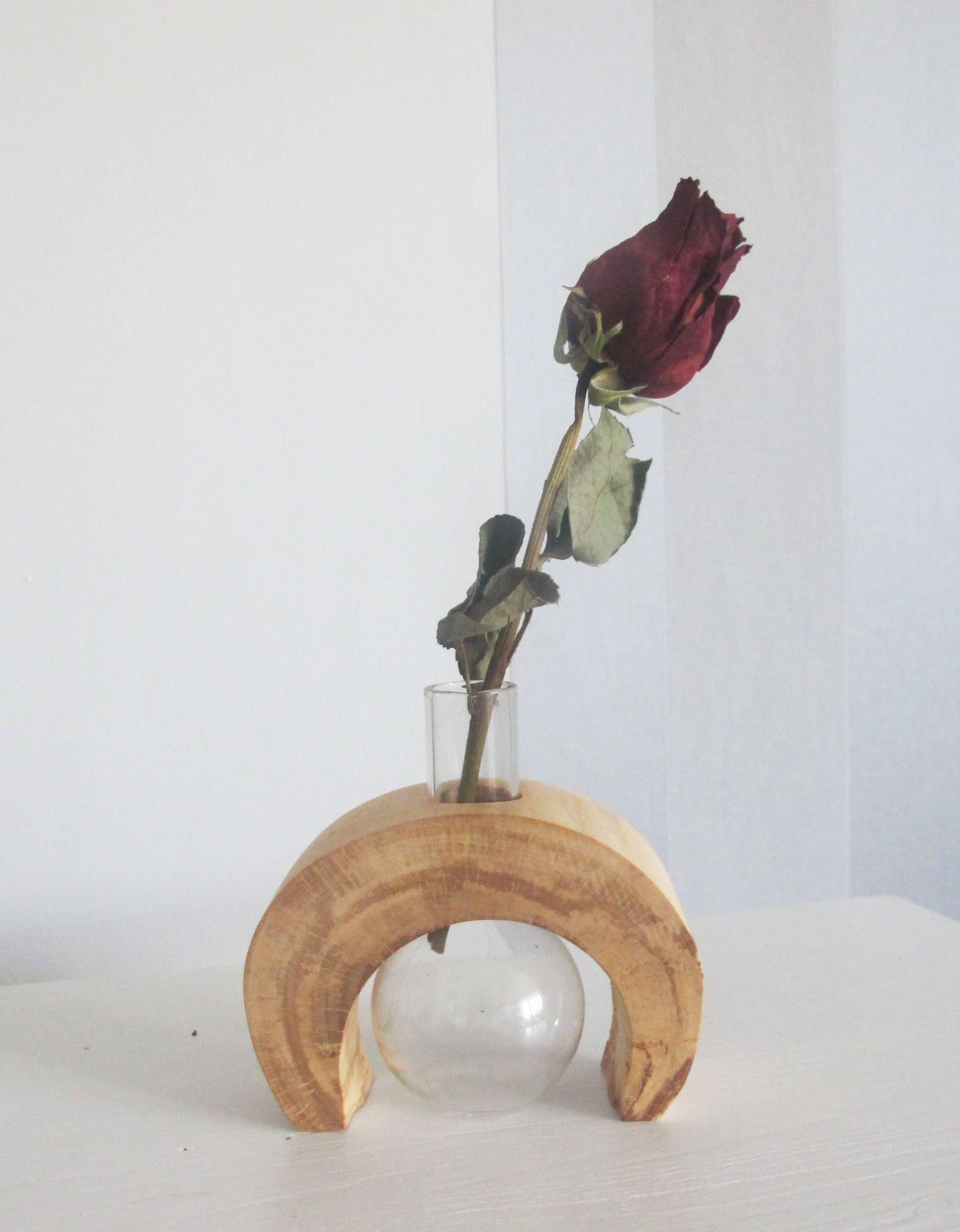 Glass Bulb Bud Vase, Small Oak Wood Vase, Wooden Vase By Vishemir On Etsy Ideas