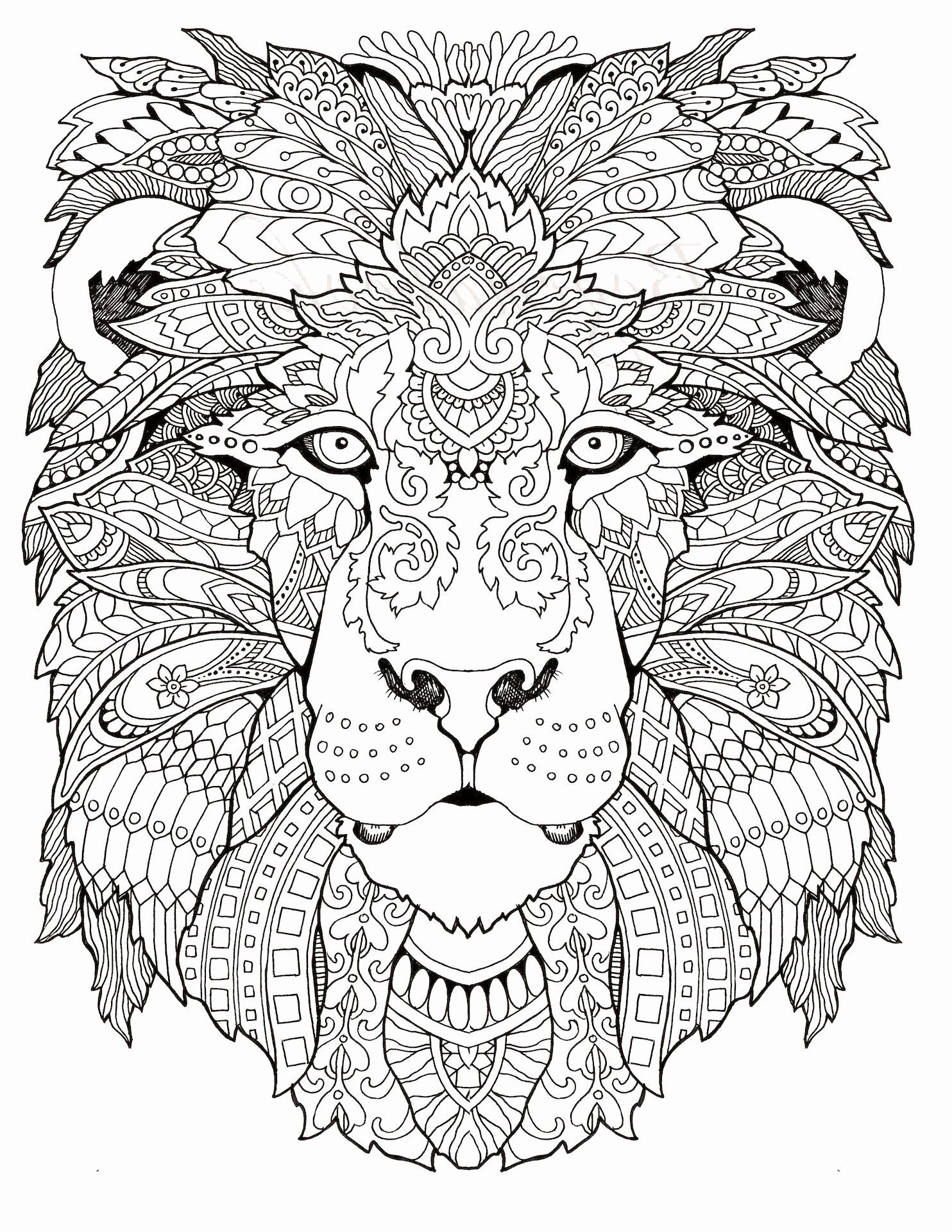 Printable Adult Coloring Pages Animals In 2020 Lion Coloring