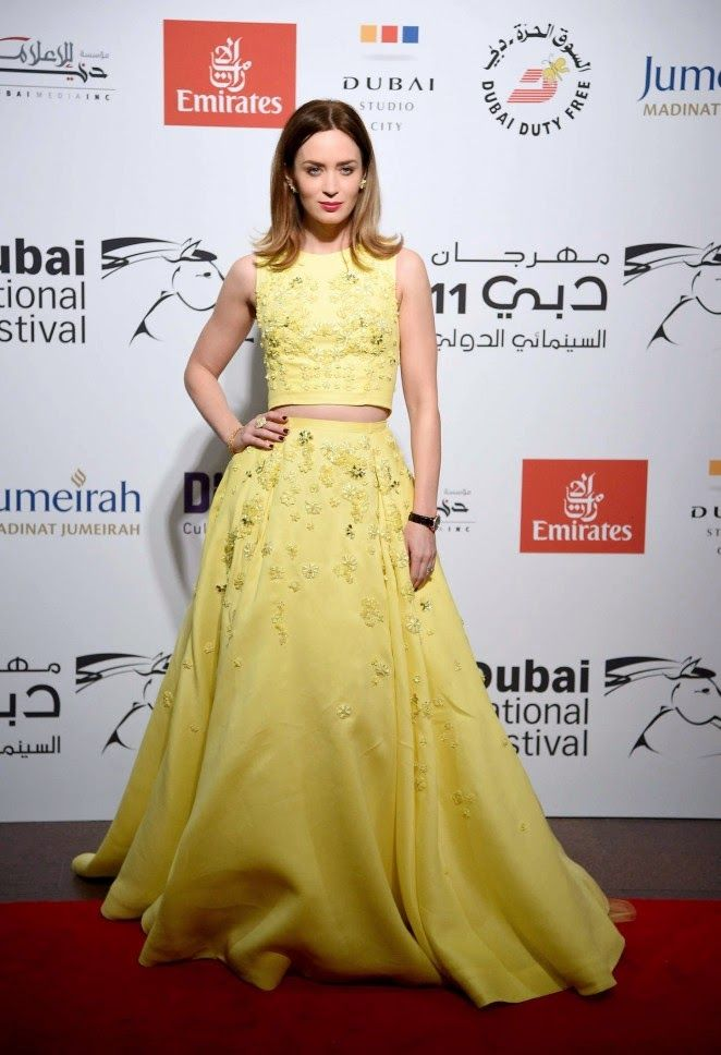 Emily Blunt poses in embellished yellow crop top at Dubai International Film Festival