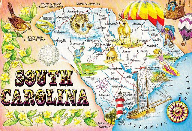 South Carolina State Map Postcard In 2020 South Carolina South