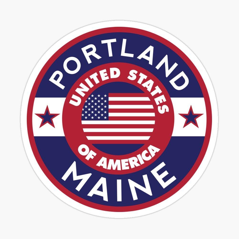 Maine Portland Usa Sticker By Alma Studio Travel Stickers Travel Stamp Luggage Stickers [ 1000 x 1000 Pixel ]