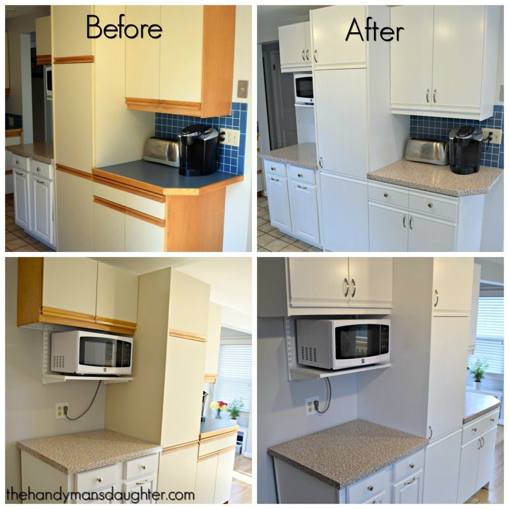 Tips For Updating Melamine Cabinets With Oak Trim Laminate Kitchen Cabinets Laminate Kitchen New Kitchen Cabinets