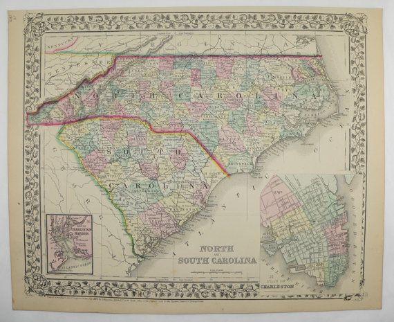 Vintage South Carolina Map.North Carolina Map South Carolina Antique Map 1871 Mitchell Map