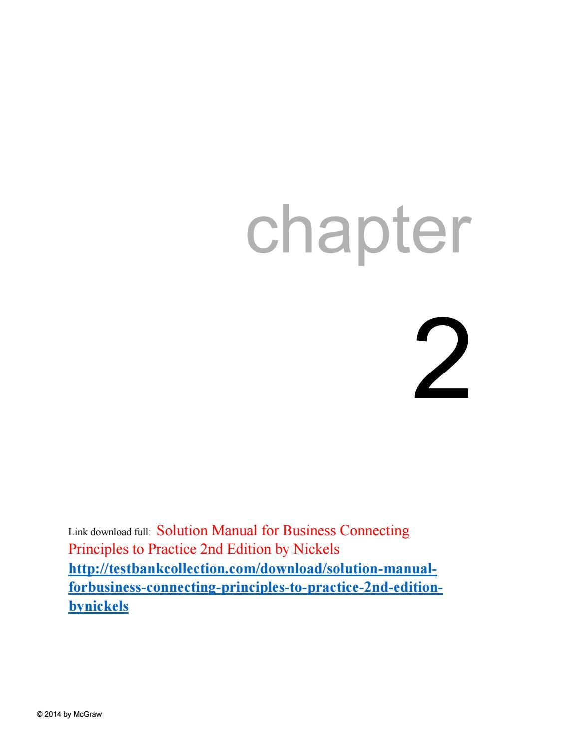 Solution manual for business connecting principles to practice 2nd edition  by nickels