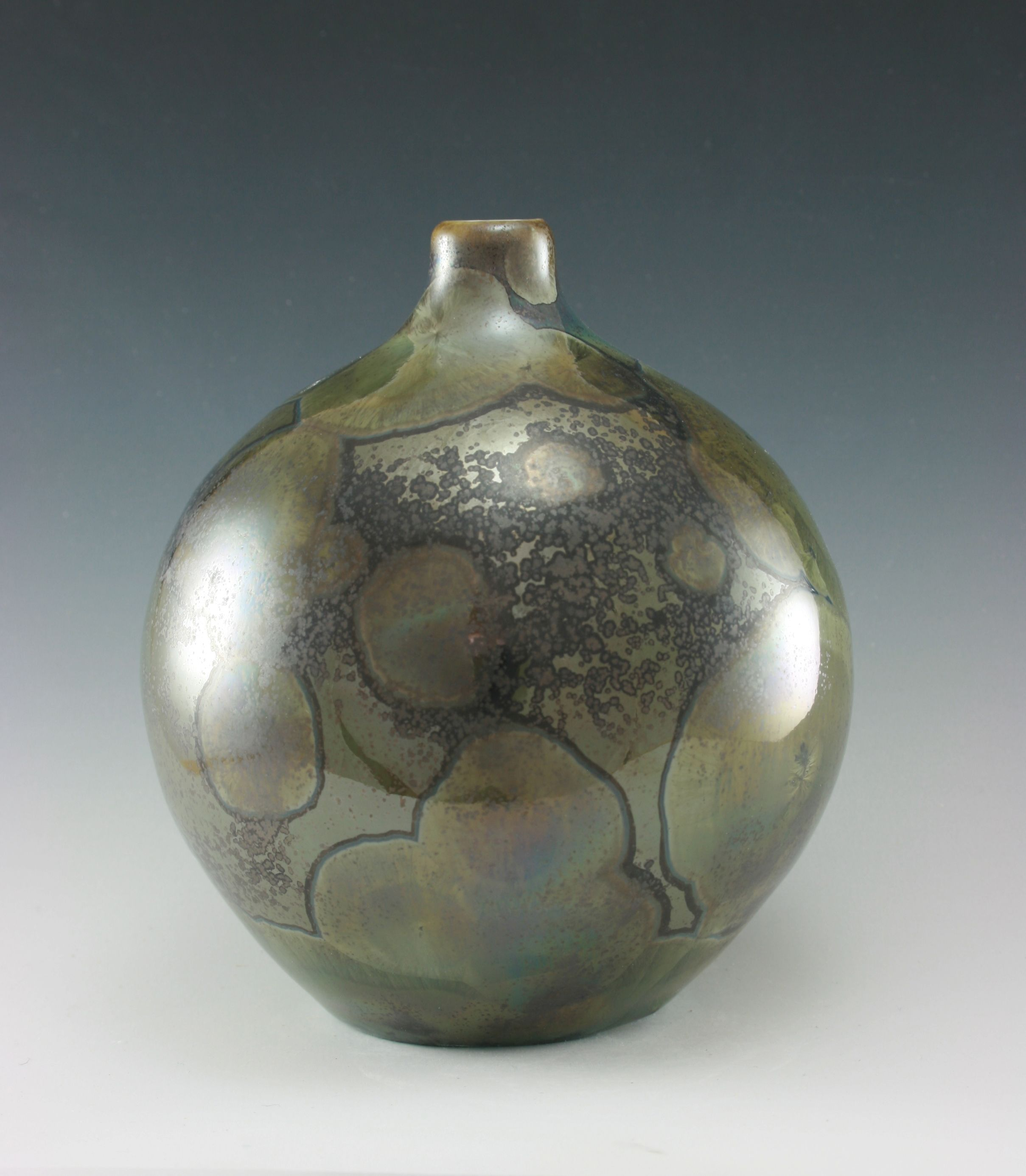 Bottle with engobe and transparent glaze.