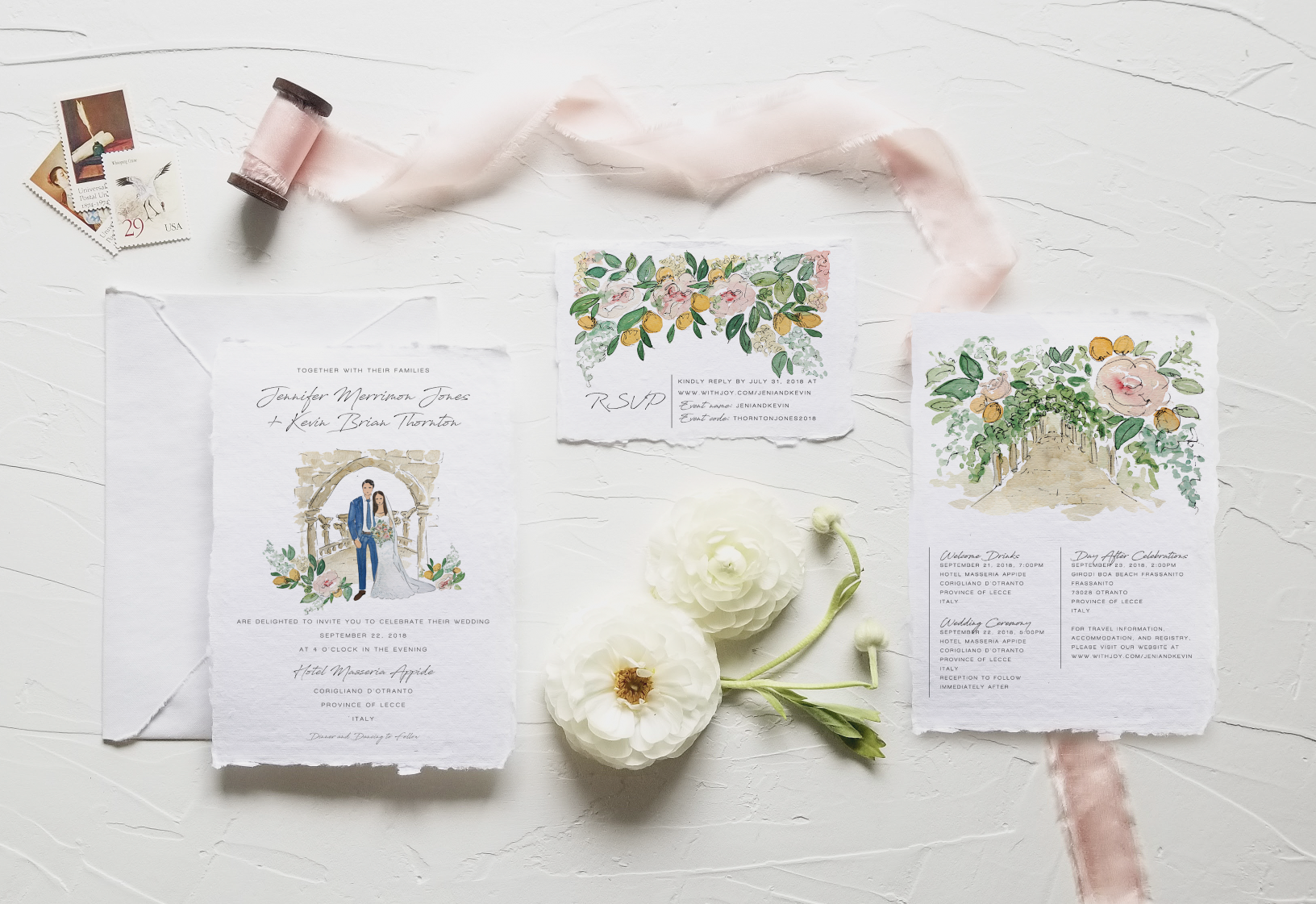 Fully Custom Watercolor Wedding Suite By Public House Co