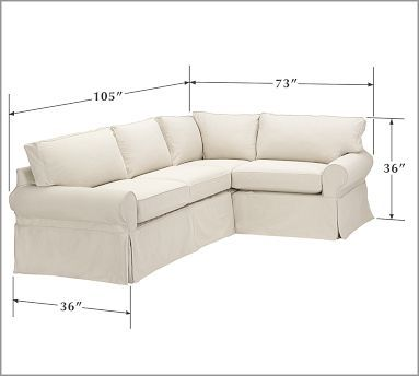 Pb Basic Slipcovered 3 Piece Sectional Small Sectional
