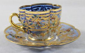 MOSER DECORATED CUP AND SAUCER : Lot 98