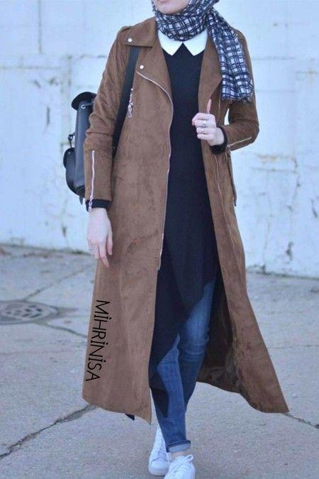 Mihrinisa Tam Boy Suet Trenckot Trenckot Mutevazi Moda Hijab Chic