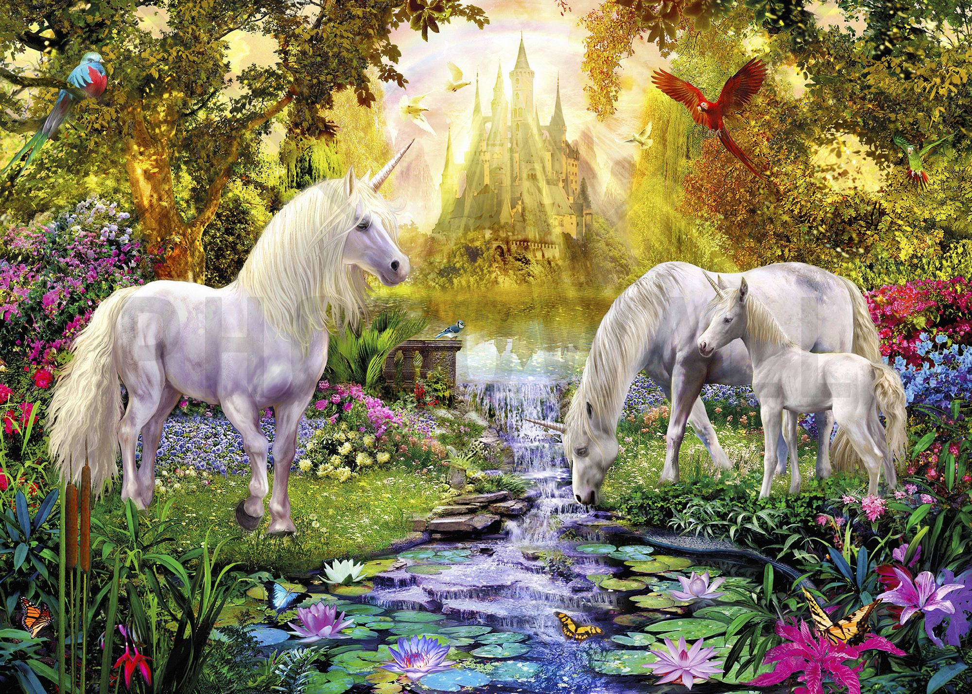 The Castle Unicorn Garden - Wall Mural & Photo Wallpaper - Photowall ...