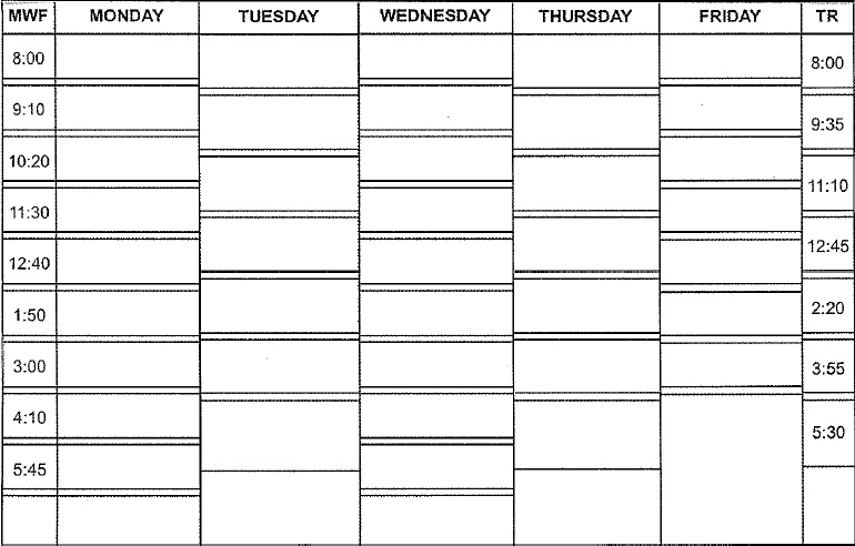 Printable college-style schedule. Since we use the
