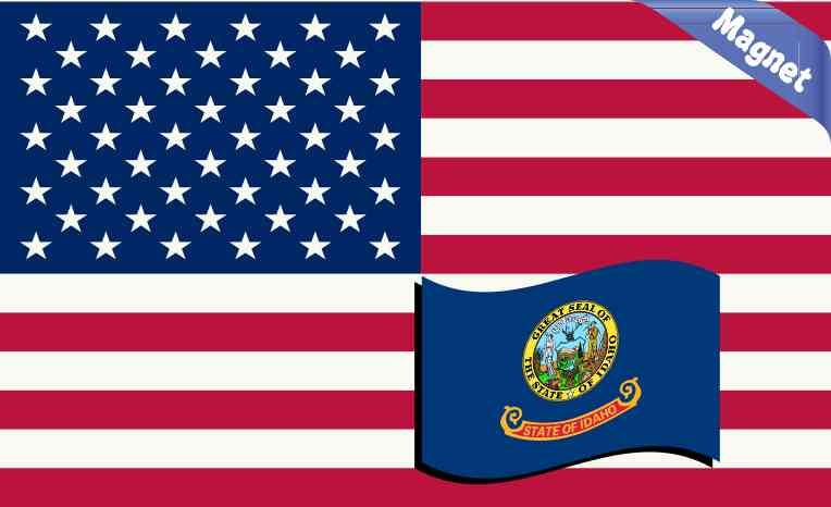 Idaho State Shaped American Flag Decal Red White and Blue