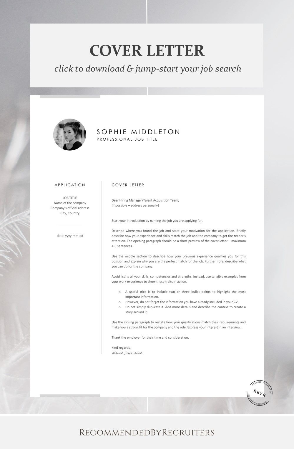 Resume Template with Photo / Instant Download Resume