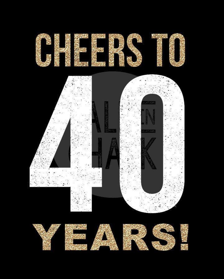 40th Birthday Black And Gold PRINTABLE Sign By TalkInChalk