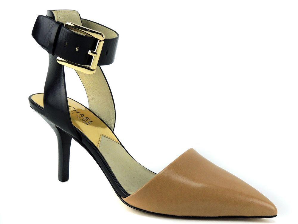 ac4382231e1f Michael Kors Women s Julieta Ankle Strap Pumps Suntan Black Leather Size 6  (B