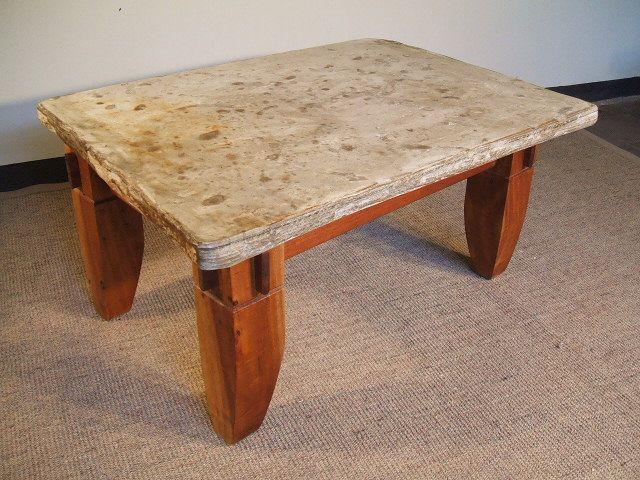 Mesa de Comedor con base de troncos de roble rústico con flejes de ...