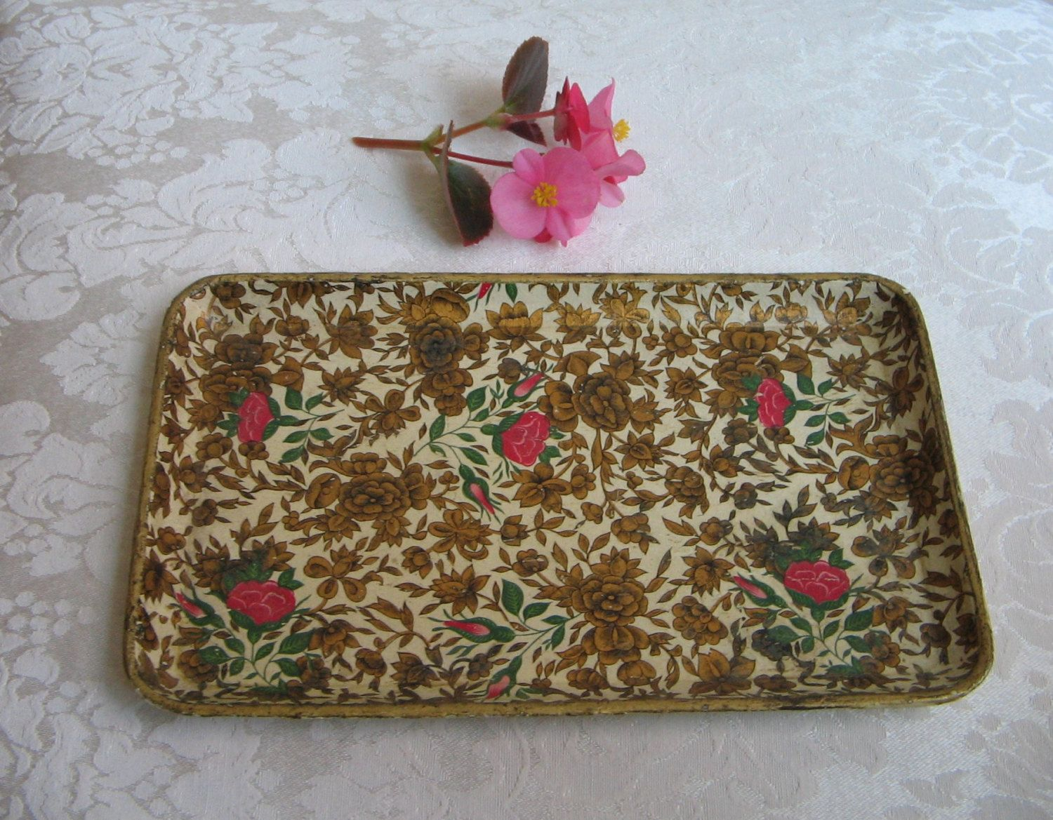 Vintage tray floral paper mache japan x gold cream pink flowers