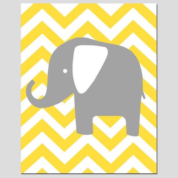 Nursery Wall Art - Modern Chevron Elephant Silhouette Print - 8x10 ...
