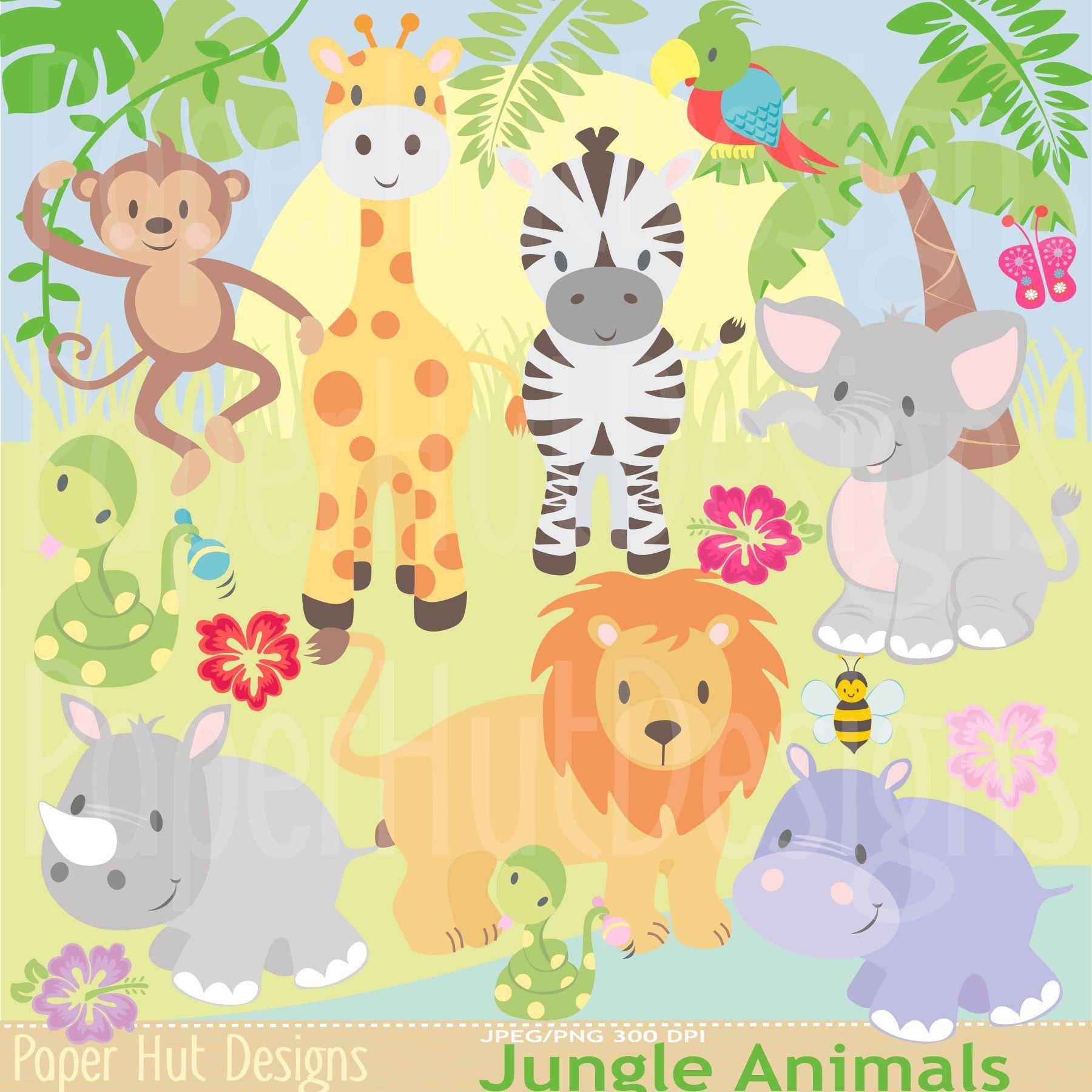 Jungle Animal Clipart Safari Clipart Jungle Clip Art Zoo Etsy Animal Clipart Cute Animal Clipart Baby Zoo Animals