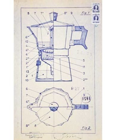 Blueprint for the espresso machine 1933 alfonso bialetti italian blueprint for the espresso machine 1933 alfonso bialetti italian bialetti who first acquired malvernweather Gallery