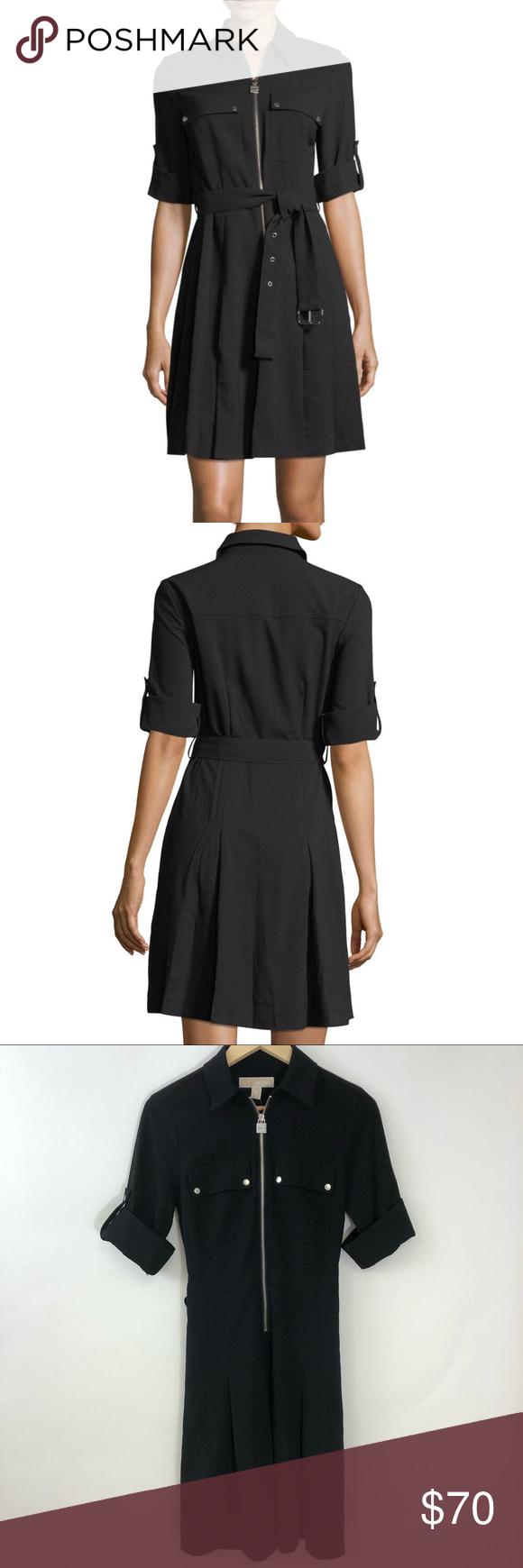 2fac991a447 NWT MICHAEL Michael Kors Shirt Dress Size XS NWT MICHAEL Michael Kors Lock- Zip Crepe