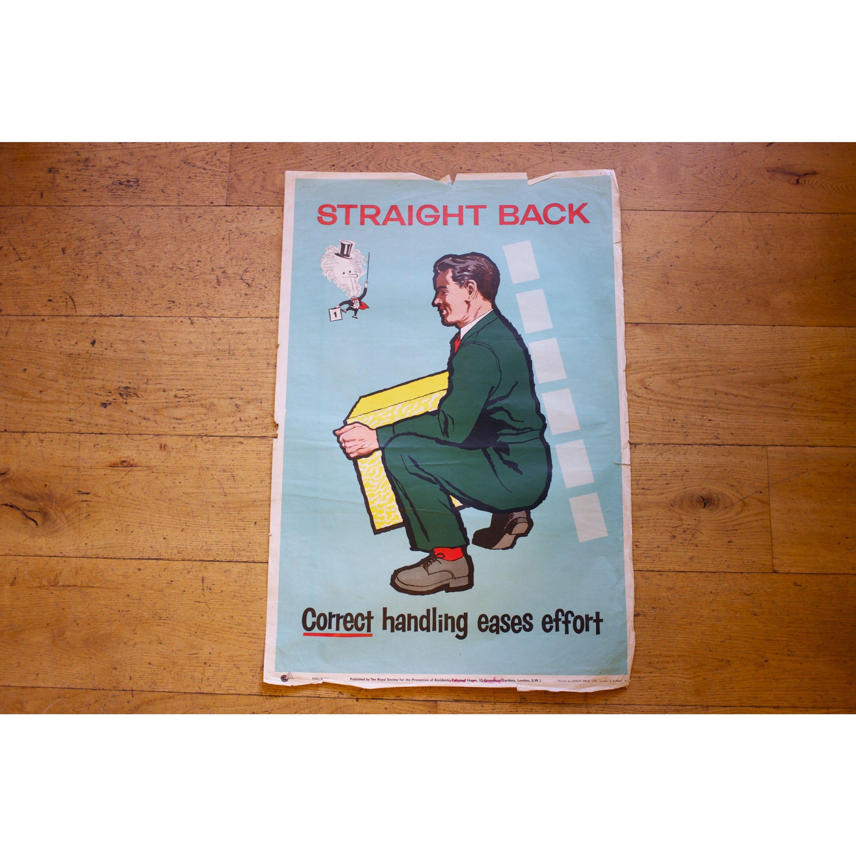 1960s/70s Health & Safety Poster Straight Back Pedlars