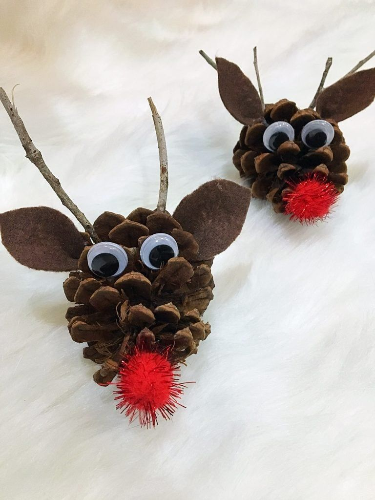 Easy + Adorable Kid's Pinecone Christmas Ornaments