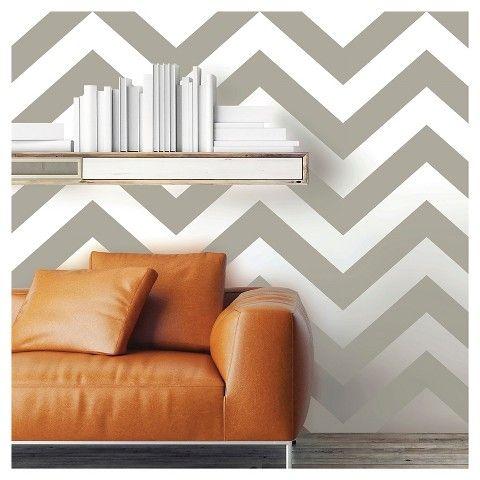 Devine Color Zig Zag Peel & Stick Wallpaper Beige/White