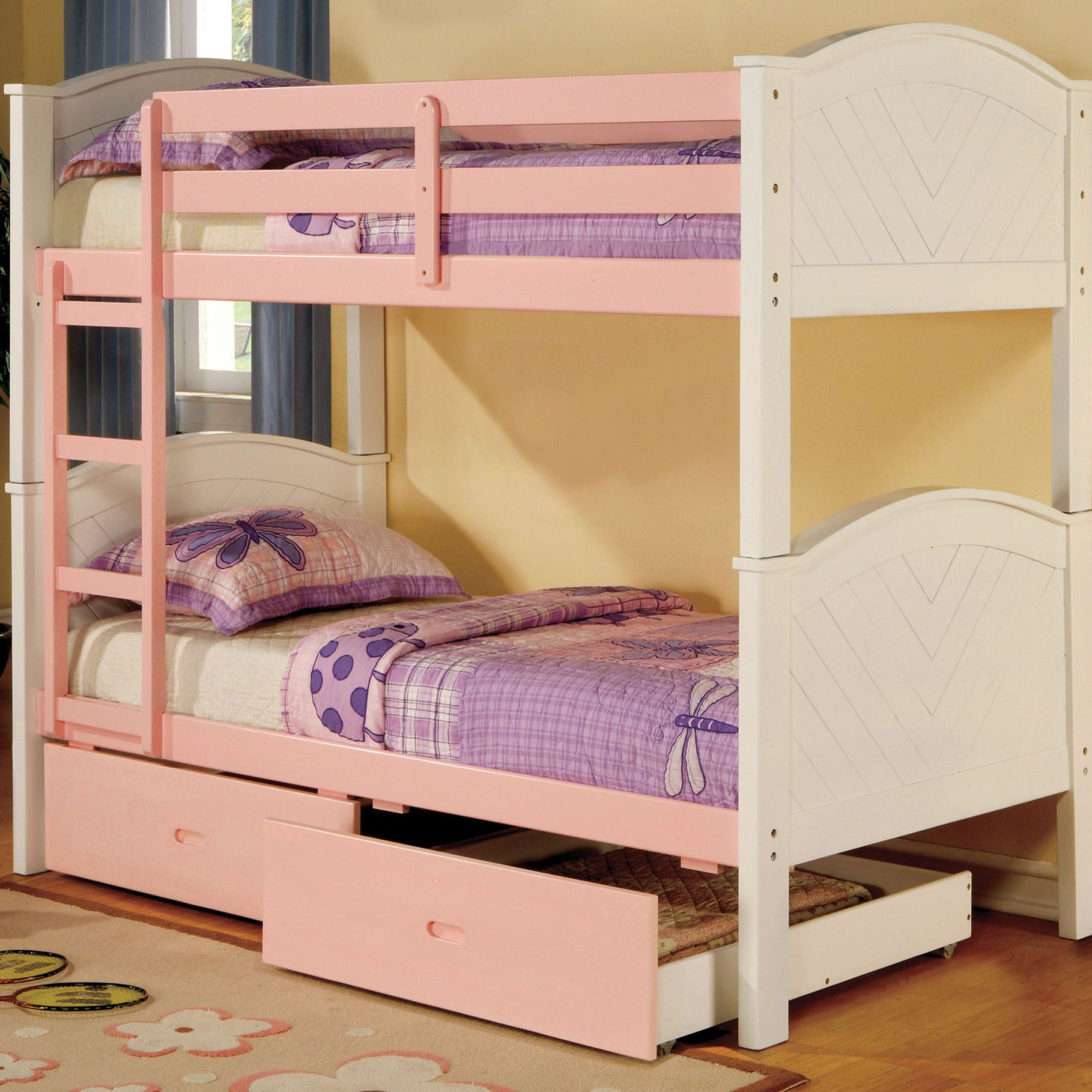 Would have to add a rail for the bottom bed Twin bunk