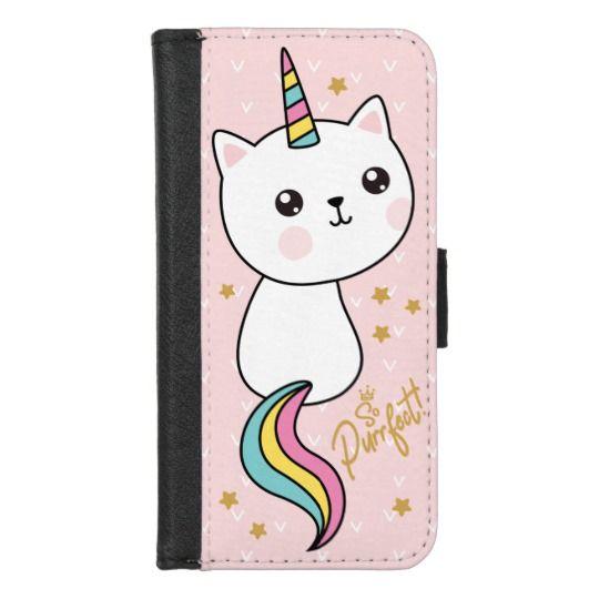 Purrfect Cute Kawaii Catcorn Pink Cartoon iPhone Wallet
