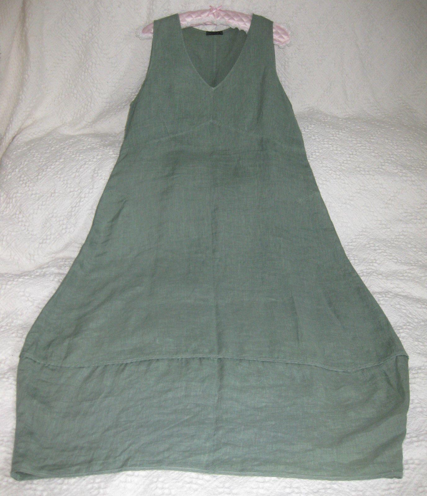 4c99063682 OSKA green summer linen long balloon dress. M