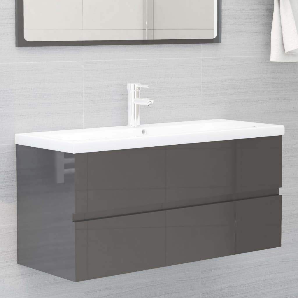 vidaXL Bathroom Furniture Set High Gloss Grey Chipboard