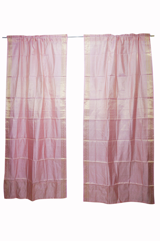 2 Pink Rod Pocket Curtain Panels Decor 96 Inch Rod Pocket