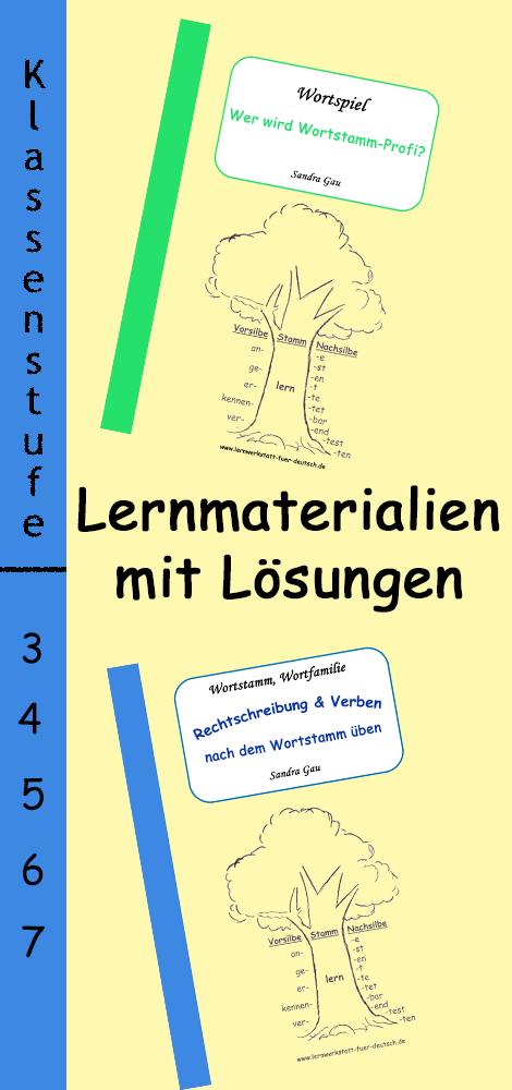 Wortspiel und Übungen zum Wortstamm im Set – Deutsch ...