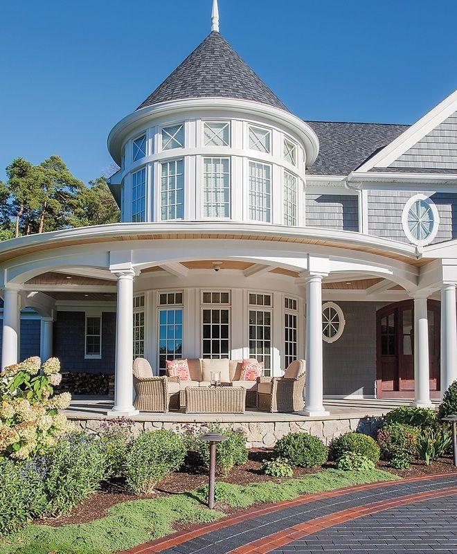 Elegant Foyer Stair Wraps A Paneled Two Story Entry Hall: Coastal, Shingle StyleW Design