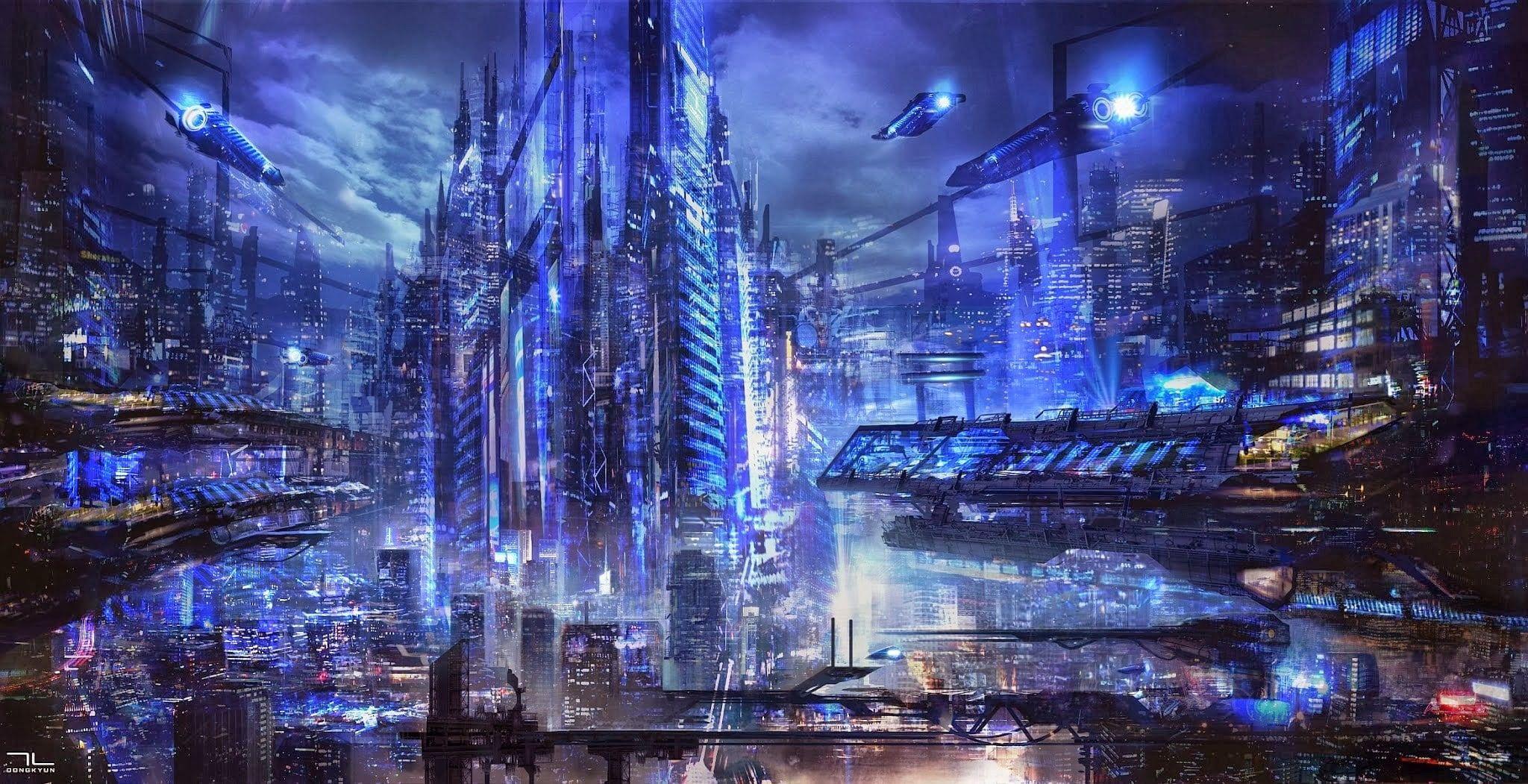 Digital Art Science Fiction Futuristic City 1080p Wallpaper Hdwallpaper Desktop Futuristic City City Wallpaper Future Wallpaper