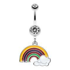 Color Blocked Rainbow Belly Button Ring-WildKlass Jewelry