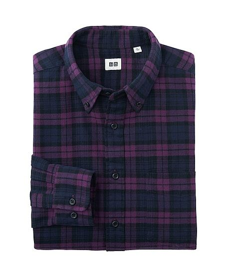 436fd038 UNIQLO MEN FLANNEL CHECKED LONG SLEEVE SHIRT $29.90 COLOR Purple SIZE Medium