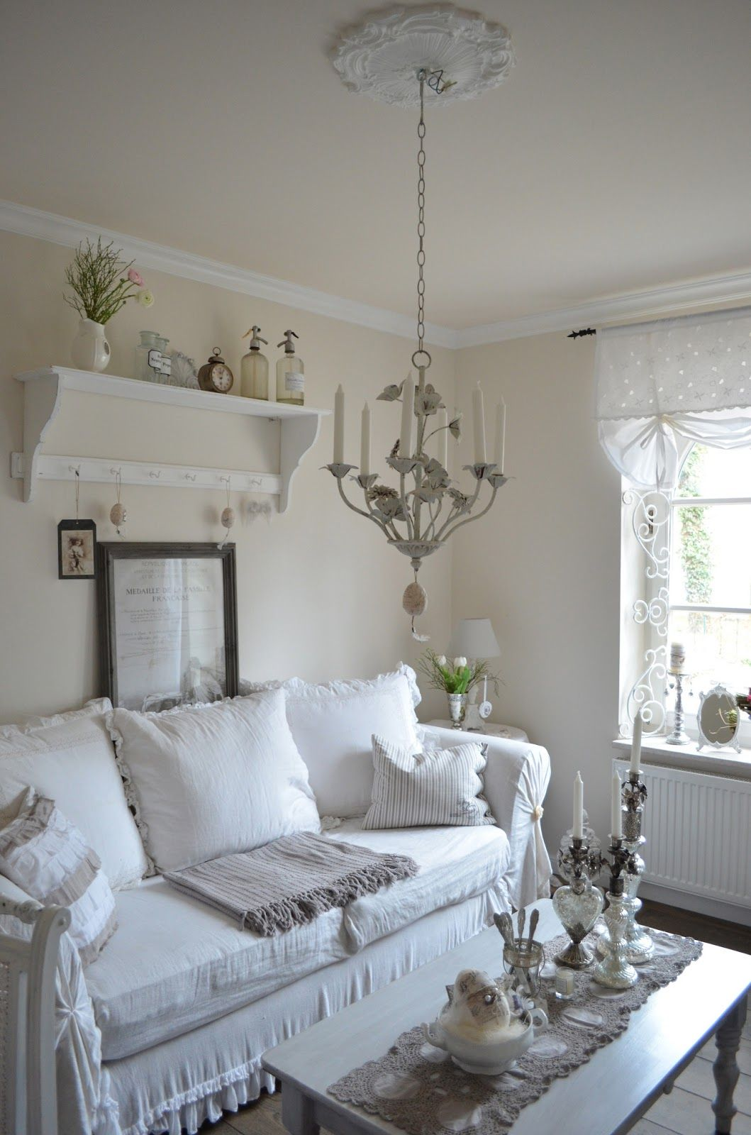 Living Room White Grey Black Chippy Shabby Chic Whitewashed Cottage French Country